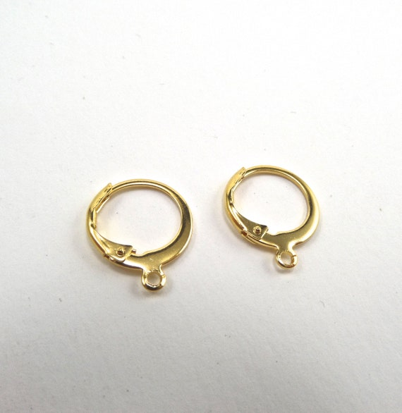 Sweet Little Gold Color 304 Stainless Steel Lever Back Earrings 10 Pair 14.5x12.5x2mm, Hole: 1.4mm - Lead Free
