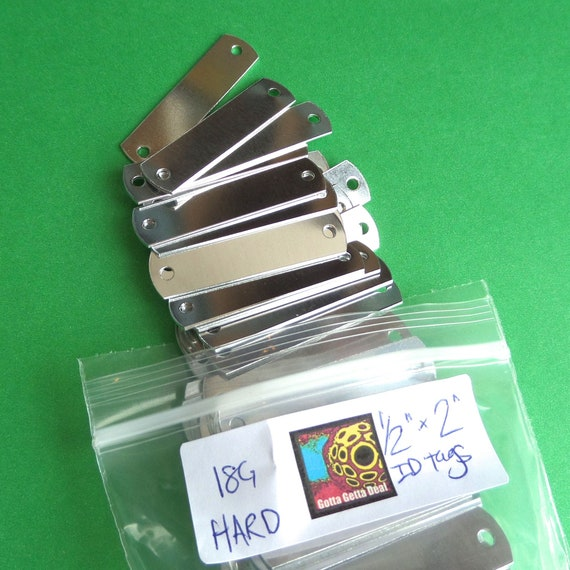 "DEALS - 242 ID Tags 1/2 x 2"" Rectangle 18 Gauge 1100 Pure Aluminum Hard Temper Tumble Polished"