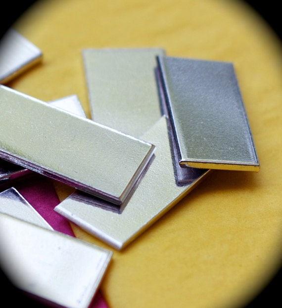 "12 Blanks 1"" x 2"" Tumble Polished 14 Gauge Rectangles 3003 Commercially Pure Aluminum Raw Unfinished"