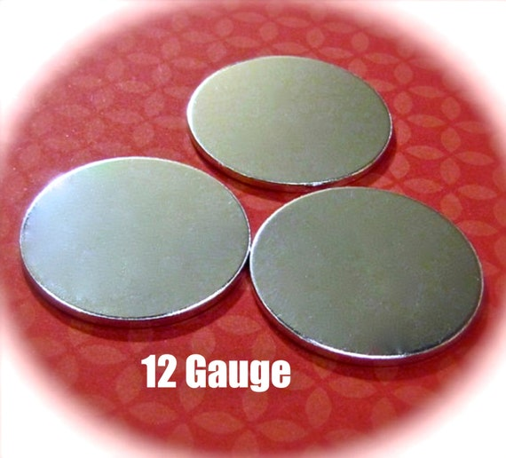 "DEALS 20 Discs 1"" 12 Gauge Discs 3mm Hole Polished Round Blanks VERY Thick -  Pure Food Safe 1100 Aluminum - Very Clean Metal Stamping Blank"