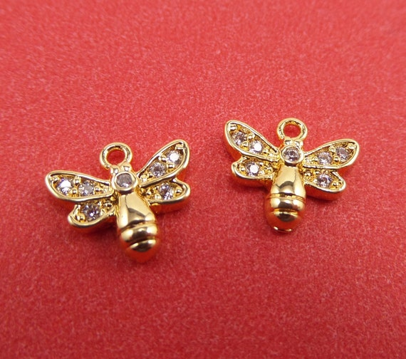 10 Gold Plated Brass Bee Charms with Pave CZs 9mm x 10mm x 2mm and 1mm Hole - Lead Free