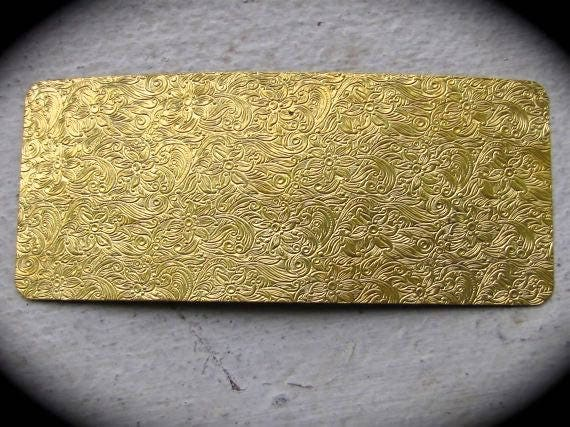 "Floral Paisley Rolling Mill Texture Plate Pattern 2.5"" x 6"" Brass Texture Plates 24 Gauge Thick"