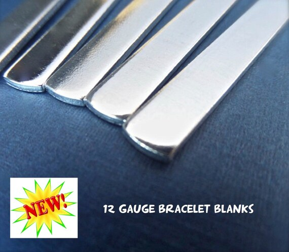 "10 Blanks 12G 1/2"" x 5-1/2"" Polished Cuff Blanks - Very Thick Pure 1100 Aluminum Bracelet Blanks - Flat - Made in USA"