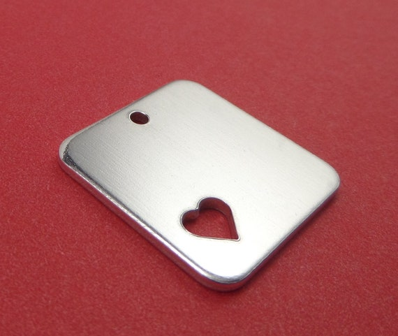 "10 Square with Heart Blanks 1"" x 1"" 14 Gauge Polished with 3mm Hole 3003 Aluminum 25mm x 25mm - Lead Free"