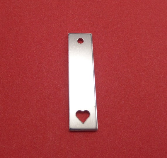 "10 Square with Heart Blanks 1/2 x 2"" 14 Gauge Polished with 3mm Hole 3003 Aluminum 13mm x 51mm Heart is VERTICAL - Lead Free"