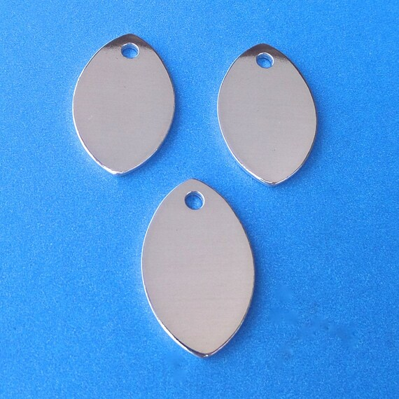 """10 Football Blanks 14 Gauge 3mm Hole Polished 3/4"""" x 1-1/8"""" 3003 Aluminum - Made in USA"""