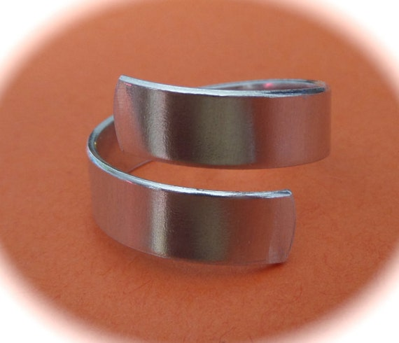 "1/4"" Wide STERLING Polished or Unfinished Wrap or Twist Ring 1/4"" Wide Blank 18 Gauge 1 Blank 1 Flat Blank rounded ends - Choose your length"
