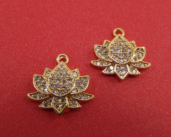 4 Gold Plated Lotus Charms with Pave CZs 13mm x 13mm x 2mm and 1mm Hole - Lead Free