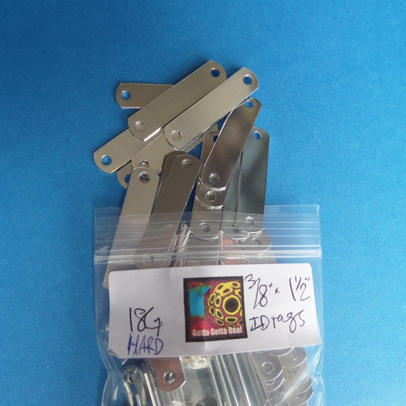 "DEALS - 94 Blanks 3/8 x 1-1/2"" ID Tags 18 Gauge 1100 Pure Aluminum Hard Temper Tumble Polished"