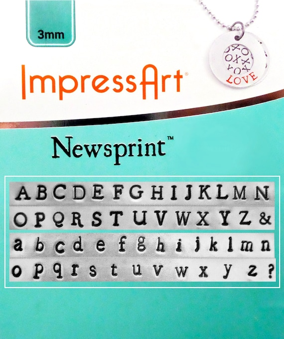 "FULL Set 3mm Newsprint Letter Stamps 1/8"" Metal Stamping Upper and Lower Case with ""&"" and ""?"" Symbol by ImpressArt"
