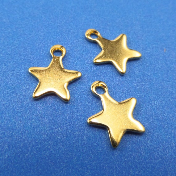 Tiny Gold Stars Charms 10 Blanks Stainless Steel 10 x 8 x 1mm with 1.2mm Hole - Lead Free