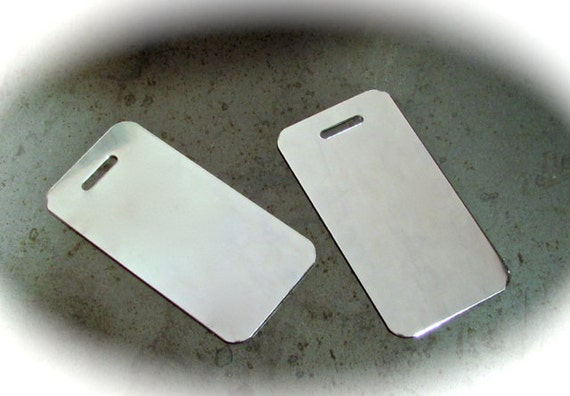 "5 Luggage Tag Mirror Finish Blanks 18 Gauge 1-1/2"" x 3"" Anodized 3003 Aluminum - Slot Punch"