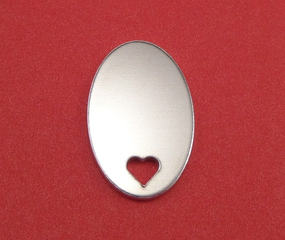 "3 Oval with Heart Cut Out Blanks 7/8 x 1-3/8"" 14 Gauge Polished 3003 Aluminum 22 x 35mm - Lead Free"