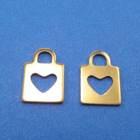 Tiny Gold Square Heart Charm 5 Charms Stainless Steel 16.5 x 5 x 1mm with 4 x 3.5mm Hole - Lead Free