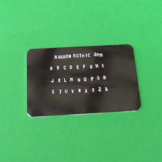 """5 BLANK Sample Cards 2-1/2"""" x 4"""" for Metal Stamping Font Set Display 18 Gauge Mirror Finish Anodized 3003 Aluminum PVC on Front."""