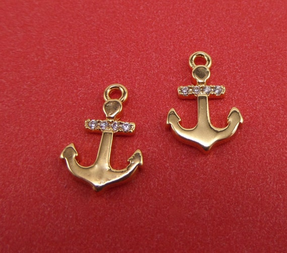 10 Gold Plated Anchor Charms with Pave CZs 14mm x 9.5mm x 1.5mm and 1mm Hole - Lead Free