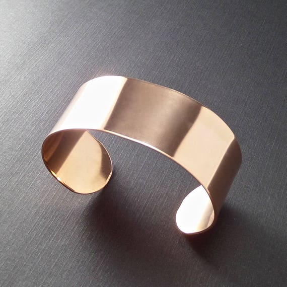 """5 Cuffs 1"""" x 7"""" Copper or Jeweler's Brass 18 Gauge RAW Unfinished Metal Stamping Bracelet Blanks - Qty 5 - FLAT"""