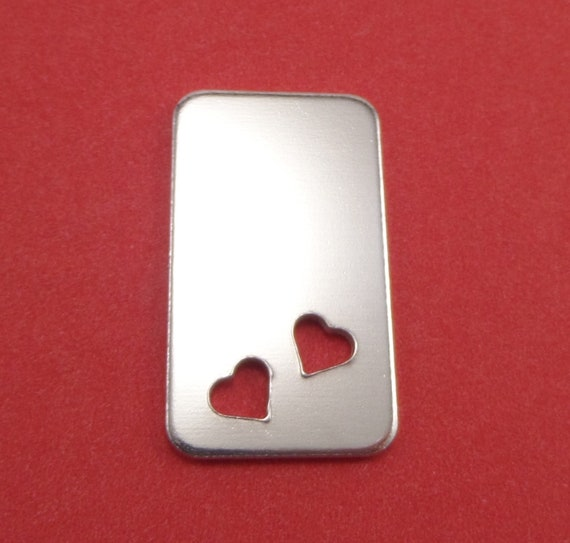 "4 Rectangle with Heart Cut Out Blanks 7/8 x 1-1/2"" 14 Gauge Polished 3003 Aluminum 22 x 38mm - Lead Free"