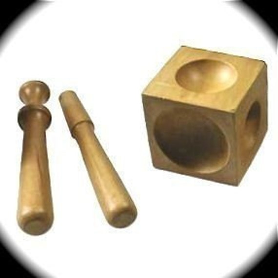 Wood Doming Block Dapping Block - Use to Curve Discs - 6 different sides - 2 Wood Punches