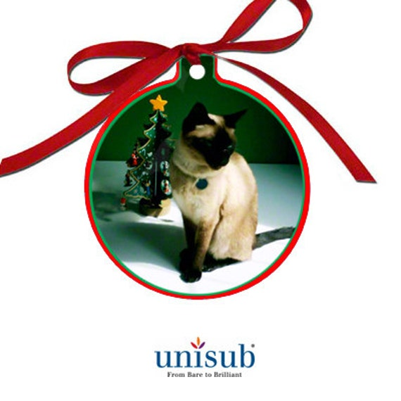 "6  - Ball Ornament 3"" Disc BLANKS, Unisub™ Gloss White Sublimation Aluminum 2 Sided Christmas Ornament, 3"" x 3.37"" x .030"""