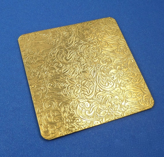 "Small Floral Paisley Rolling Mill Texture Plate Pattern 2.5"" x 2.5"" Brass Texture Plates 24 Gauge Thick"