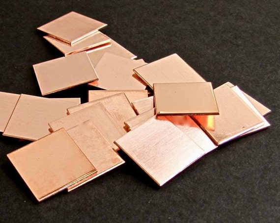 """12 Blanks 1"""" Square Copper 18 Gauge RAW Unfinished Clean Surface"""