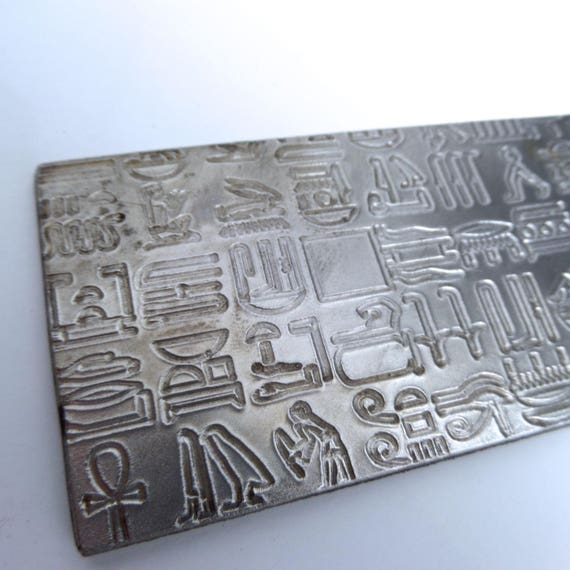 """Kim - Reserve Listing - Hieroglyphics Rolling Mill Texture Embossing Plate 2"""" x 6"""" Steel Texture Plate for Rolling Mill or Hammering"""