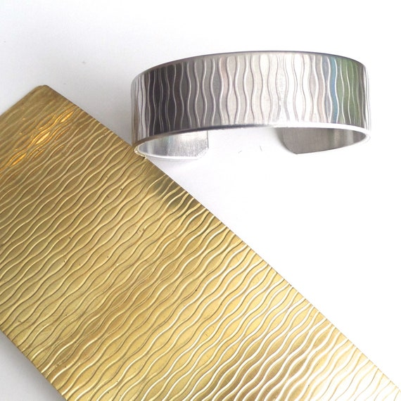 """River Pattern Rolling Mill Texture Plate Pattern 2.5"""" x 6"""" Brass Texture Plates 24 Gauge Thick"""