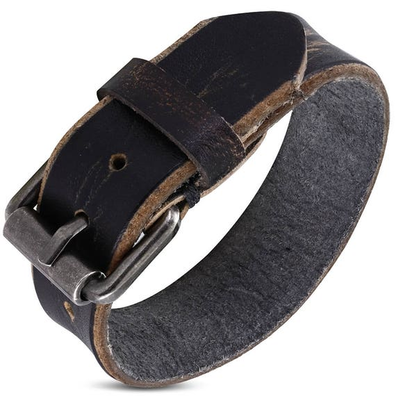 """1 Leather Charcoal Buckle Cuff - 3/4"""" Wide Wrist Band Adjusts from 7"""" to 8.5"""" Wrist - QTY 1"""