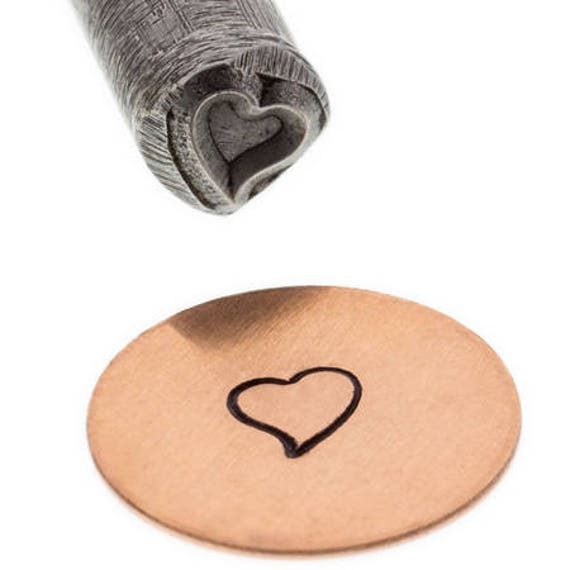 Heart Tilted Metal Design Stamp 4mm wide and 4mm high - Eurotool