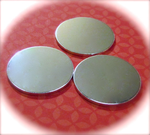 "100 Discs 1.25"" 14 Gauge Blanks Hole Punching and Polishing Available Heavy Weight Pure Food Safe Metal - 100 Discs"