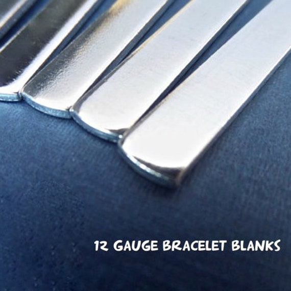 "10 Blanks 12G 1/4"" x 7"" Tumbled Polished Cuffs - Very Thick Pure 1100 Aluminum Bracelet Blanks - Flat - Made in USA"