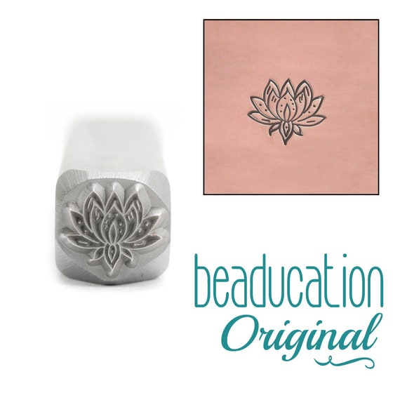 Lotus Flower Metal Design Stamp 7 x 8mm - Beaducation Original
