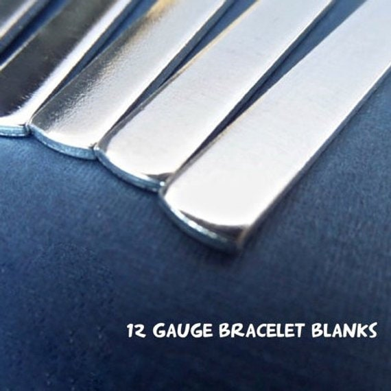 """10 Blanks 12 GAUGE 3/8"""" x 7"""" Metal Stamping Cuff Blanks Tumble Polished Very Thick Pure 1100 Aluminum Bracelet Blank Flat Made in USA"""