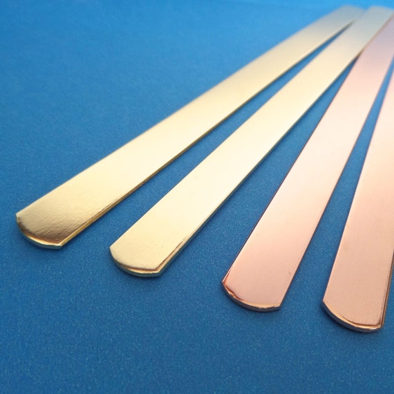 "25 Cuffs 1/4"" x 6"" Copper or Jeweler's Brass 18 Gauge Tumble Polished or Raw Bracelet Blank Cuffs - 25 Cuffs - Flat - Made in USA"