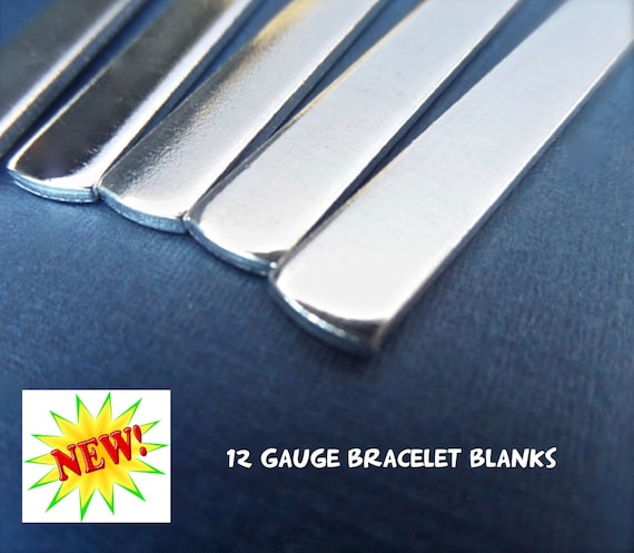 "5 Blanks 12G 1/4"" x 5"" Metal Stamping Cuff Blank Tumbled Polished - Very Thick Pure 1100 Aluminum Bracelet Blank - Flat - Made in USA"