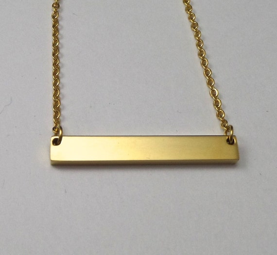 "2 - Gold Plated Surgical Steel Blank Bar Necklace 32mm x 5mm Polished 12 Gauge Thick 18"" Chain - Use 2.5mm Stamps"