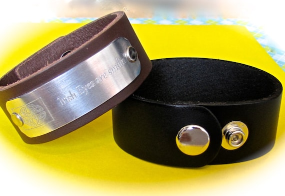 "5 - 1"" Black Leather Cuff Wrist Band Blanks in Smooth Texture with Metal Snaps - QTY 5"