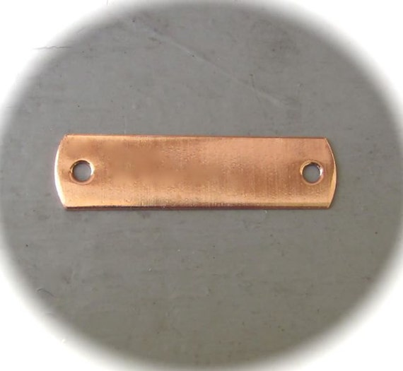 "5 Blanks 1/2 x 2-1/4"" Copper 18 Gauge ID Tags with 2 Holes 1/2"" x 2.25"" Choose - RAW or POLISHED"