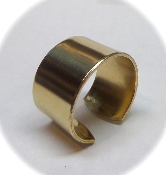 "1/2"" x 2-1/4"" Medium (10) Blanks Brass Ring Blanks US Sizing 6.75-9.75 Jeweler's BRASS 18 Gauge Polished  or Raw Unfinished - Arrives Flat"