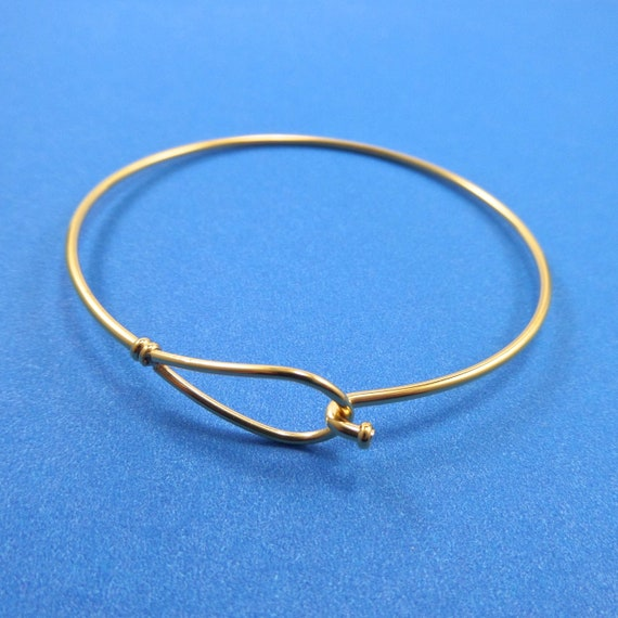 Gold Color Steel Clasp Bangle 59 x 61.5mm 14 Gauge Thick Gold Stainless Steel - Lead Free