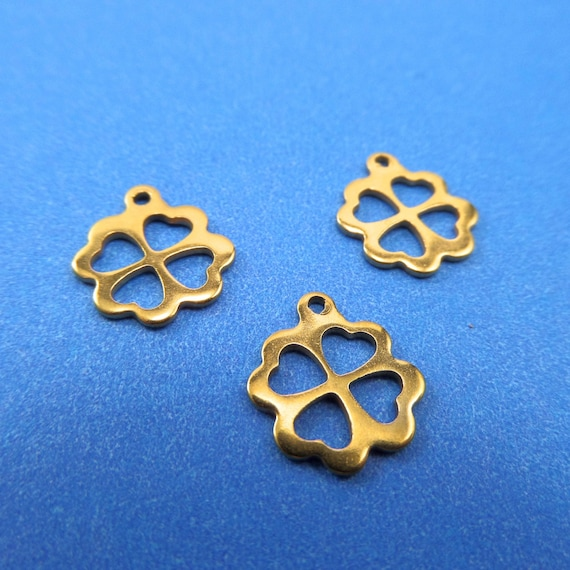 Gold Flower Charms 10 Blanks Stainless Steel 12 x 10 x 1mm with 1mm Hole - Lead Free