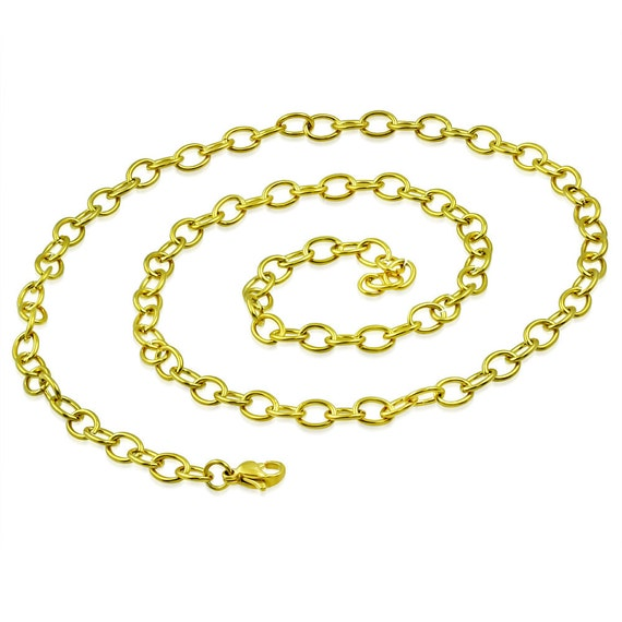 "3 Chains Gold Anodized Surgical Steel 21"" Long x .19"" Stainless Steel Lobster Claw Clasp Oval Link Chain  316L"