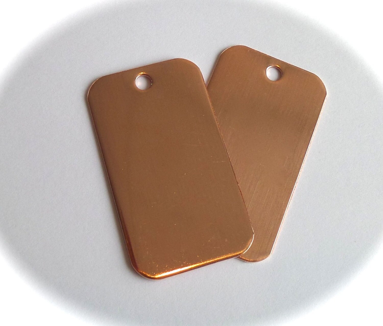 10 Blanks 1-1/8 x 2 Keychain Blanks 18 Gauge Copper 3mm Hole