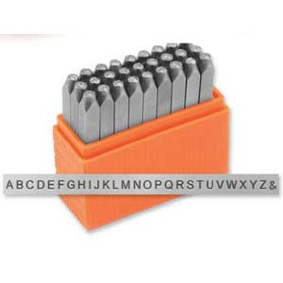 """1.5mm San Serif Uppercase Tiny Set Alphabet Metal Letter Stamping Set with """"&"""" Symbol by ImpressArt - Perfect for 1/8"""" Blanks"""