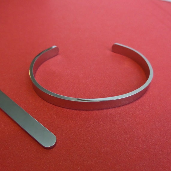 "5 Surgical Steel 12G Cuffs 1/4"" x 6"" Highly Polished Bracelet Blank Cuffs Round Corners - Flat Ready for Stamping 316L Steel"