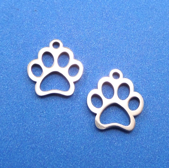 Tiny Dog Paw Cut Out Charm 5 Charms Stainless Steel 12.9 x 11.8 x 1mm with 1.5mm Hole - Lead Free