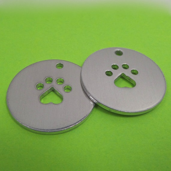 "10 Polished Dog Paw Cut Out Charm Blank 14 Gauge 1"" 3003 Commercially Pure Aluminum 2mm hole at top - Made in USA"