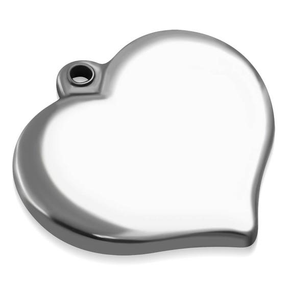 4 Blanks Heart Charms 2 x 1.8cm(0.78 x.70 inch) Stainless Steel Engravable - 316L SURGICAL STEEL
