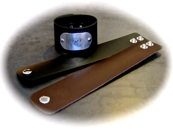 "5 Leather Cuff - 1-1/2"" Black Leather Wide Wrist Band Blanks with Metal Snaps - QTY 5"